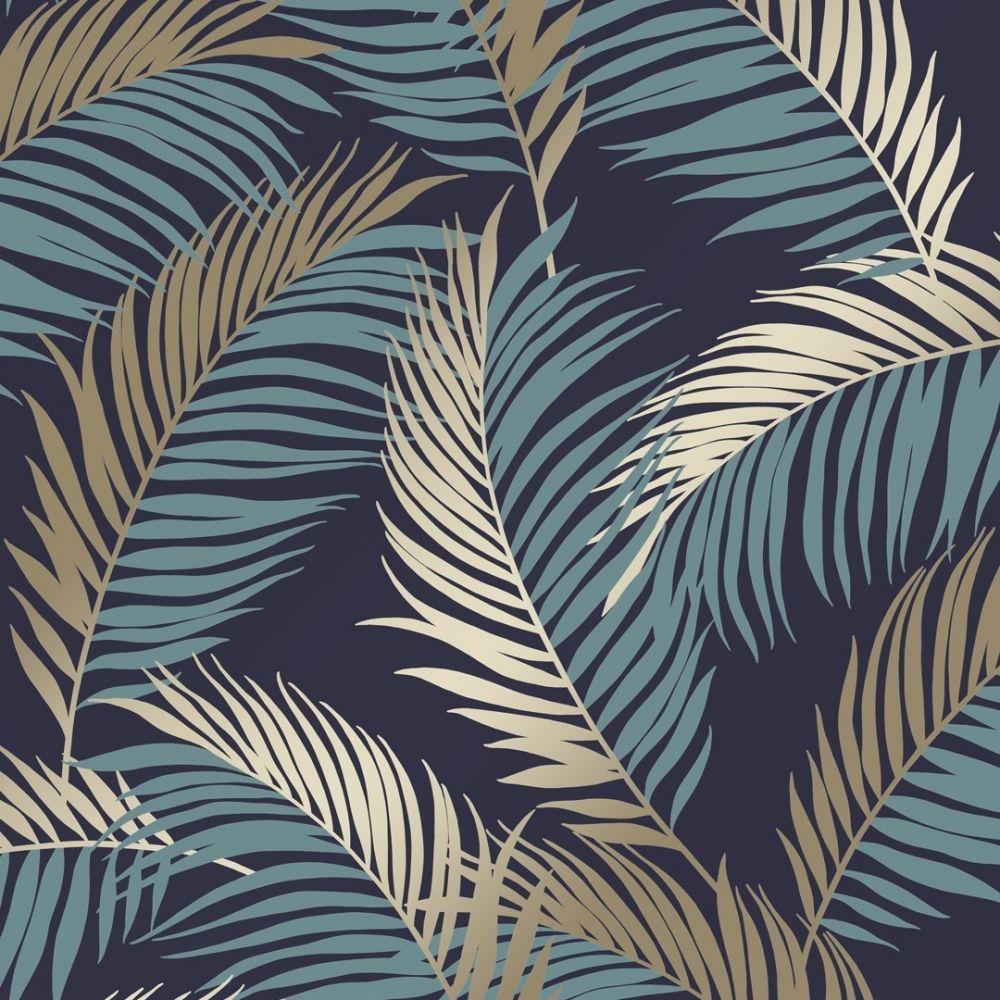 Vivienne Leaf Wallpaper Navy Gold In 2020 Leaf Wallpaper Feather Wallpaper Feature Wall Wallpaper