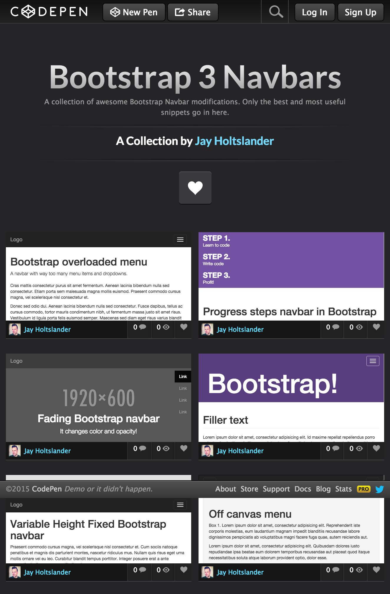 Bootstrap 3 Navbars - a Collection by Jay Holtslander on | Design