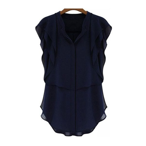 V Neck Butterfly Sleeve Navy Blouse (€17) ❤ liked on Polyvore featuring tops, blouses, shirts, navy blue, navy blue blouse, shirts & blouses, short sleeve blouse, blue shirt and navy shirt