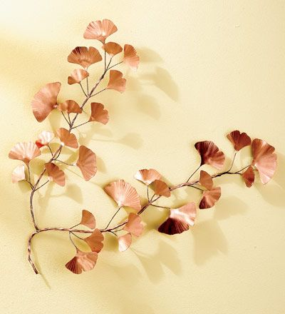 """Hammered Copper Ginkgo Branch Wall Sculpture...Since dinosaur days, the tree that Darwin called a """"living fossil"""" has represented longevity and endurance to cultures around the world. Relatively unchanged for over 270 million years, the ginkgo is a testament to survivability. In fact, four ginkgos survived the Hiroshima bombings and flourish there to this day"""