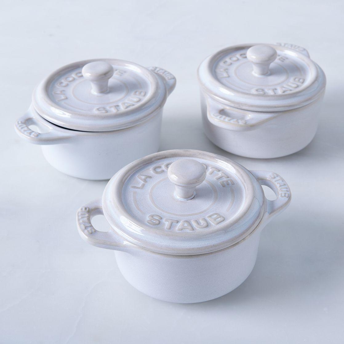 Staub Ivory Rustic Ceramic Mini Round Cocottes Set Of 3 Rustic Ceramics Ceramics Staub