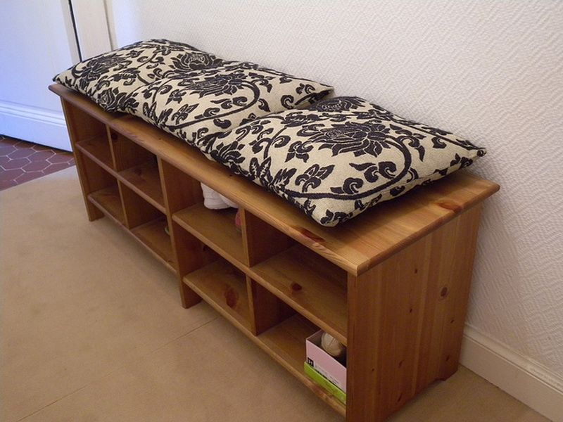 IKEA PINNIG Black Bench with shoe storage Shoe storage