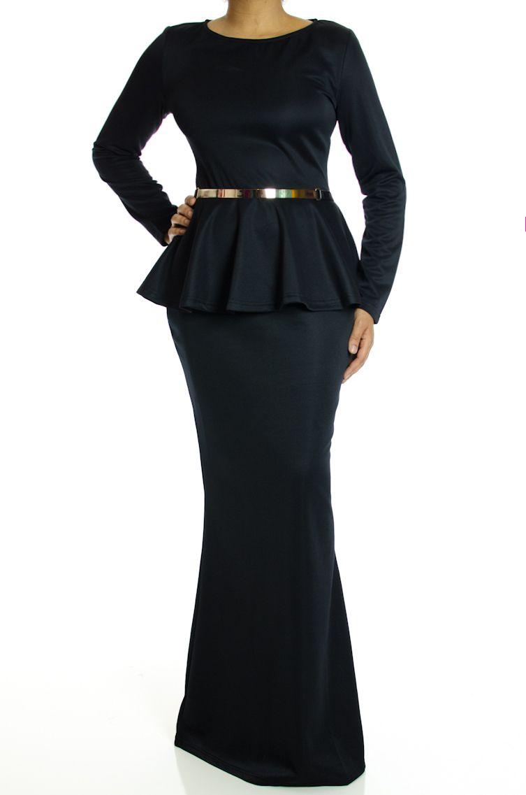 Black long sleeve peplum maxi dress like pinterest dresses