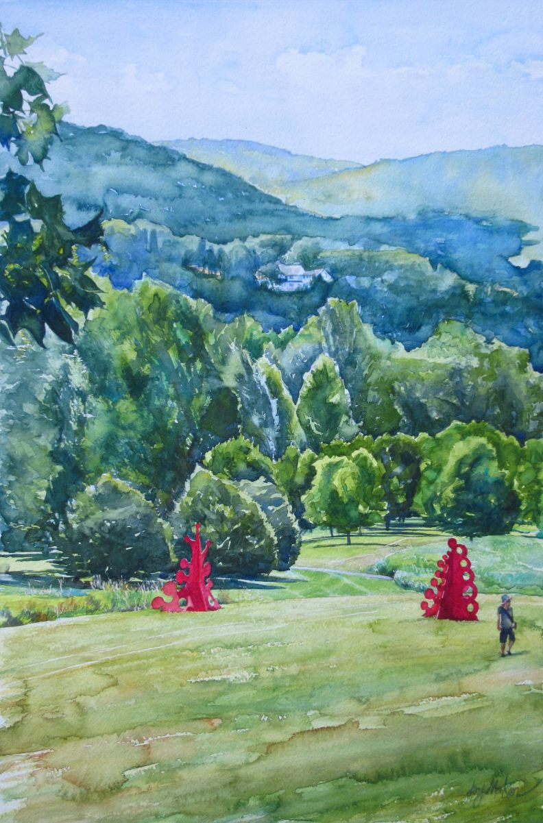 Red in a Sea of Green, from Storm King Art Center. Watercolor on Arches paper.