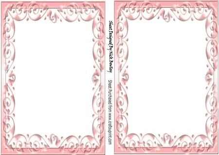 Pretty A5 Rose pink scroll card front and insert on Craftsuprint - Add To Basket!