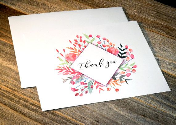 Floral Wedding Thank You Note Cards Blush Romantic Wedding Thank
