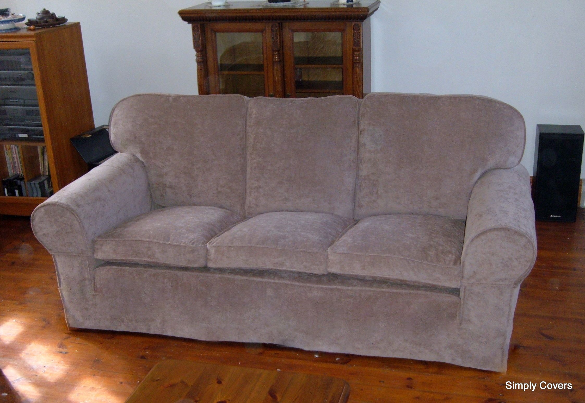 A sofa eezecover in distressed velvet really transformed this old tatty threadbare sofa a really inexpensive way to smarten up the furniture using our eeze