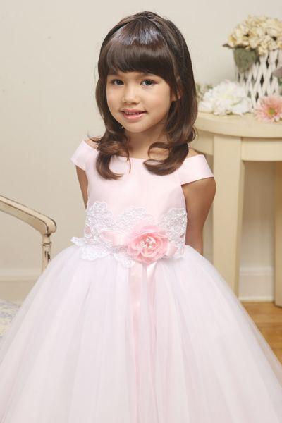 Pink satin tulle princess dress princess dresses pinterest image of flower girls outfits pink satin tulle princess dress mightylinksfo