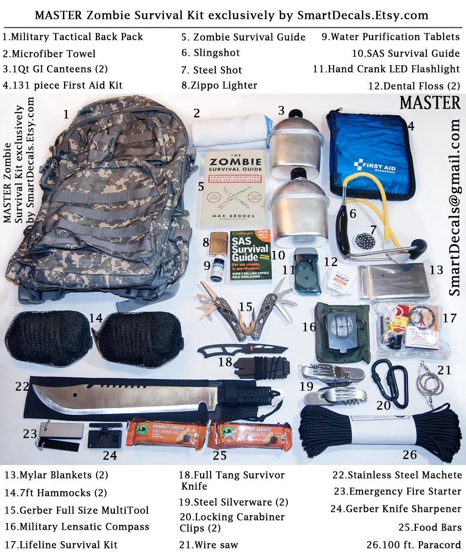 Zombie Apocalypse Survival Kit Master Necessities Military Outbreak 2 Person 299 99 Via Etsy
