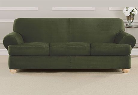 Ultimate Heavyweight Stretch Suede Four Piece Sofa Slipcover Stuff