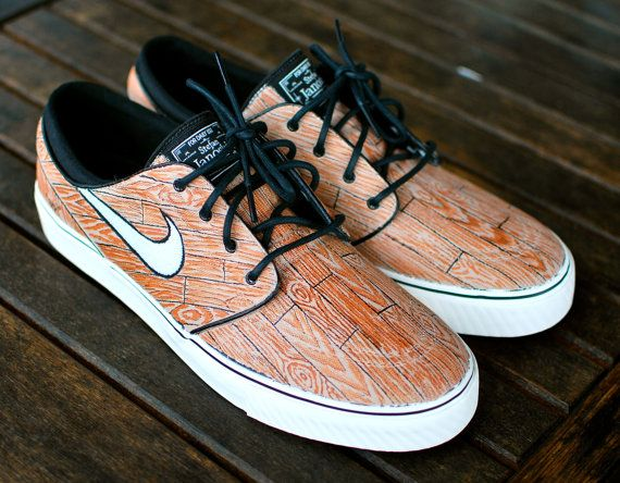 Custom Hand Painted Woodgrain Nike Stefan Janoski Skate Shoes