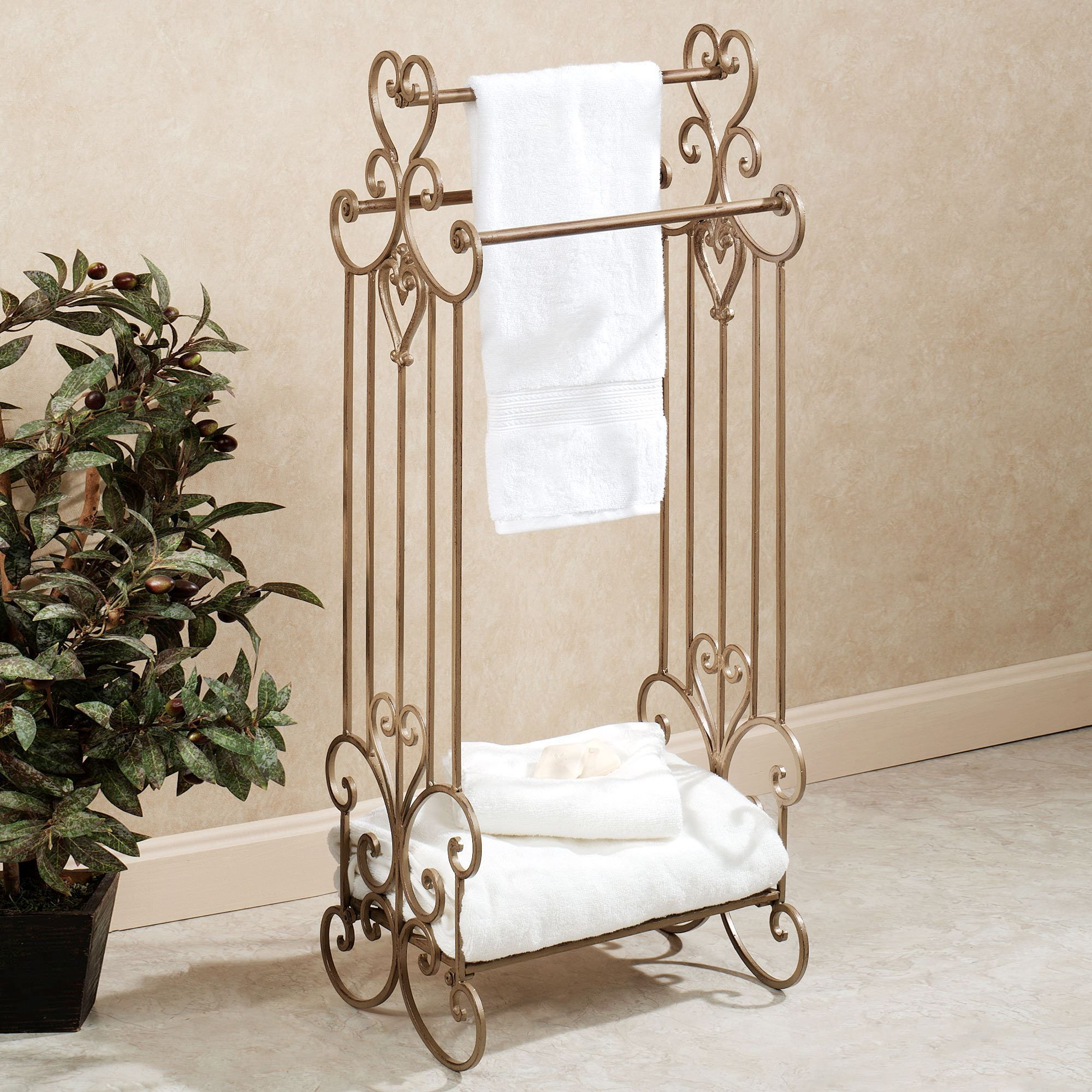 products storage stand rack copper bathroom iron for towel shelf organizer