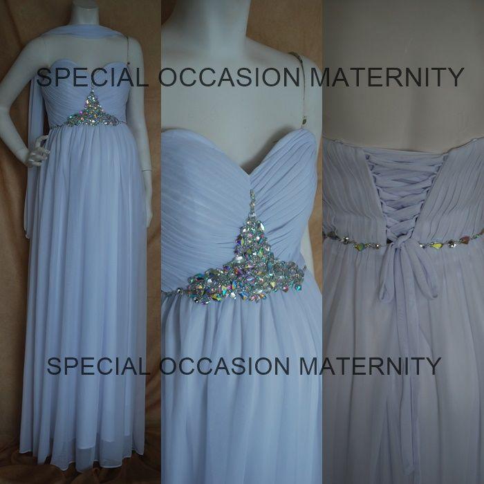 3091L Long Chiffon Sweetheart Jewels Maternity Dress Tie Up Back ...