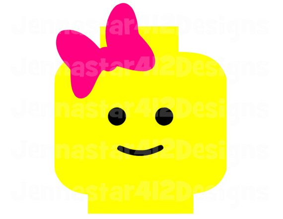 Lego inspired lego head with bow diy printable iron on for Lego minifigure head template