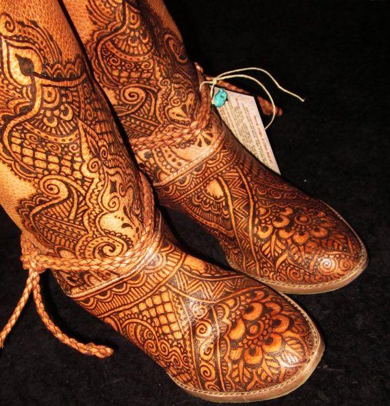 CUSTOM ORDER Mehndi Henna Burned Women's Leather by Behennaed, $30.00