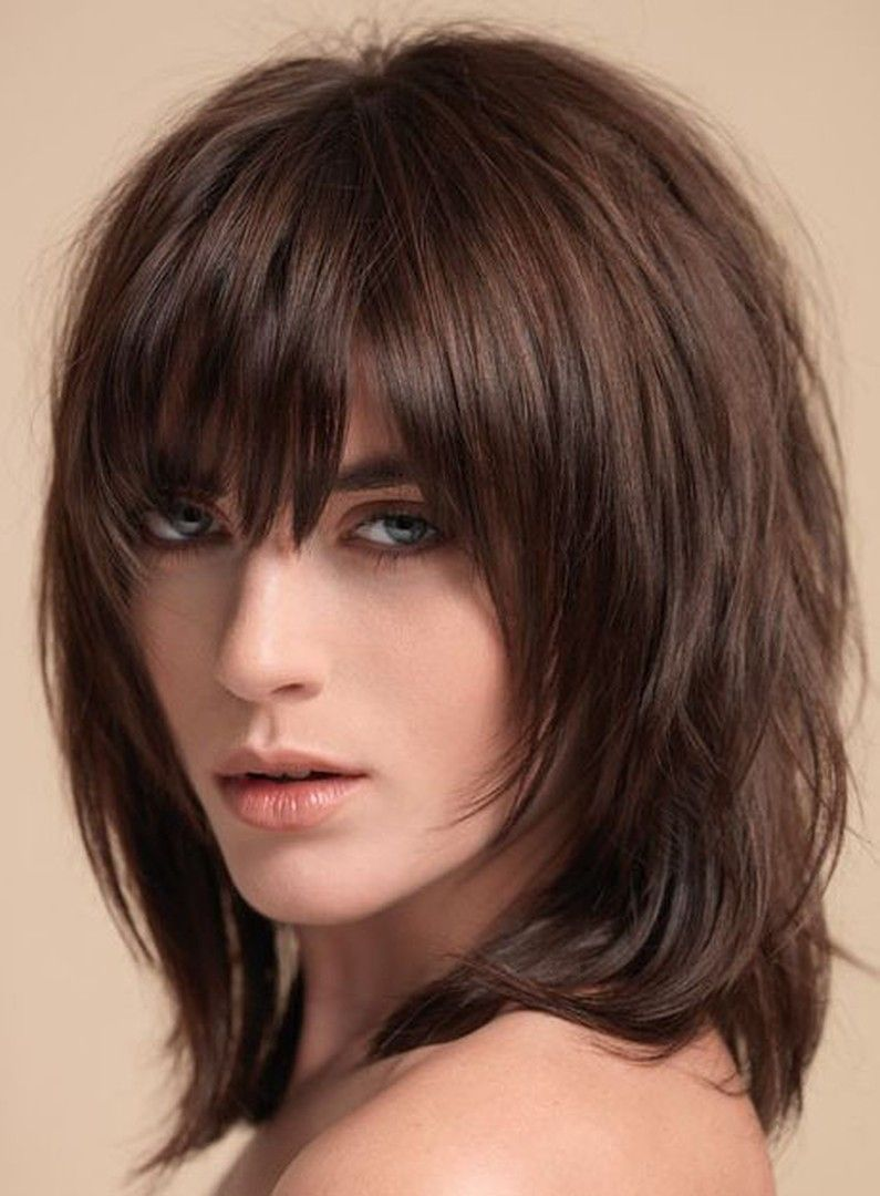 Layered Shag Hairstyle With Full Fringe Middle Length Synthetic
