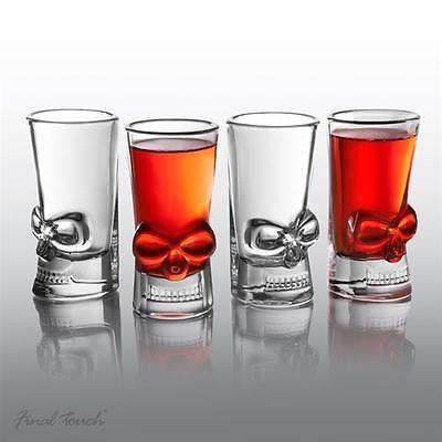 Amazing Set Of 4 Brainfreeze Skull Shot Glasses Drinking Gift Set Unique Barware  Glass