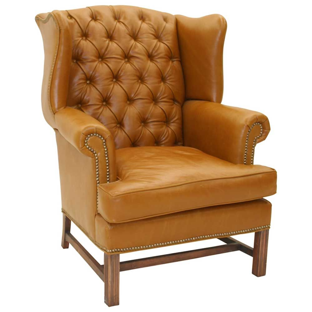 Best Vintage Brown Leather Wingback Armchair From Hickory 400 x 300