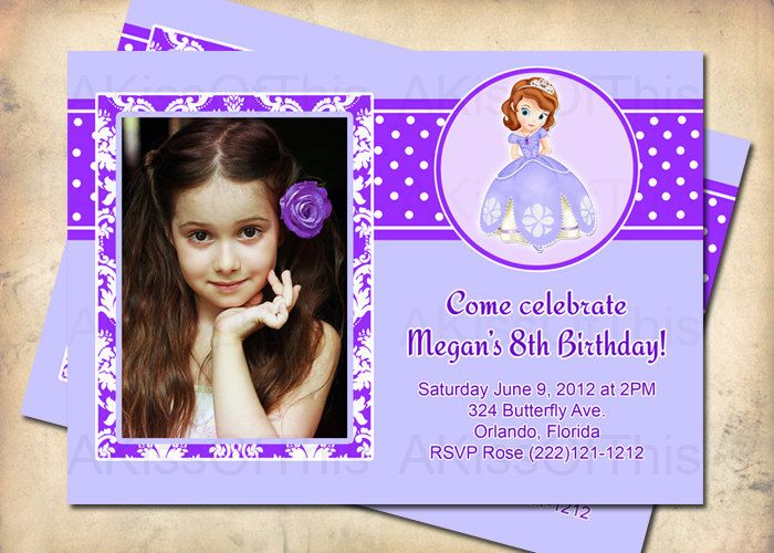 Sofia The First Birthday Invitation Girls Photo Invite Custom - 1st birthday invitations girl purple