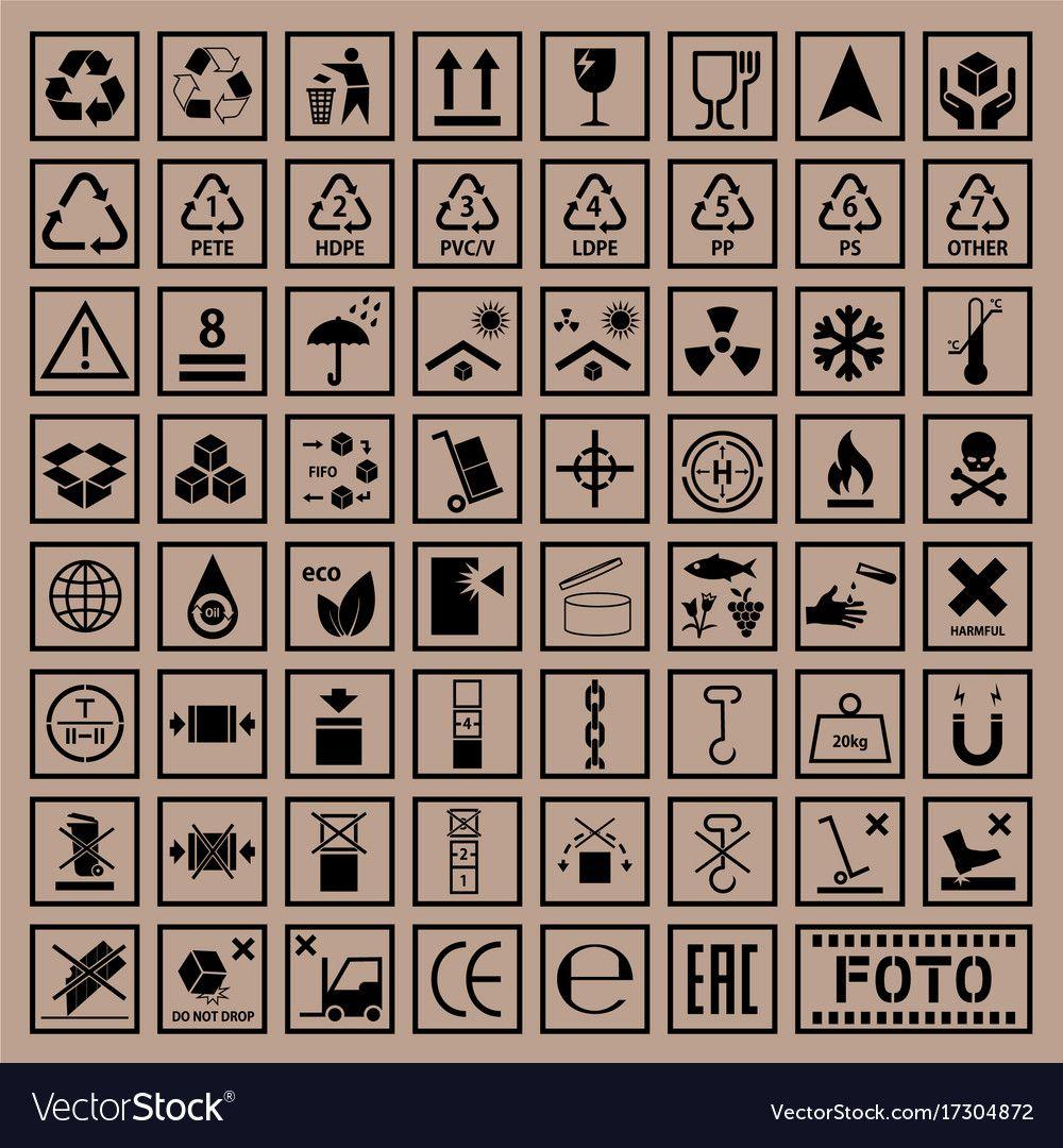 cargo symbols set, packaging icons, vector illustration