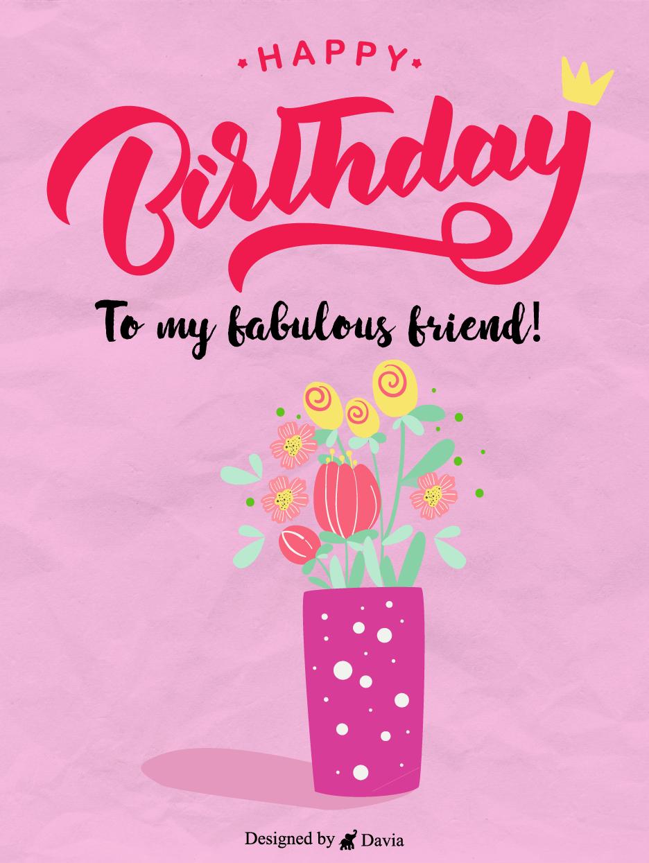 Flowers Crown Happy Birthday Friend Cards Birthday Greeting Cards By Davia In 2021 Birthday Cards For Friends Happy Birthday Friend Birthday Cards