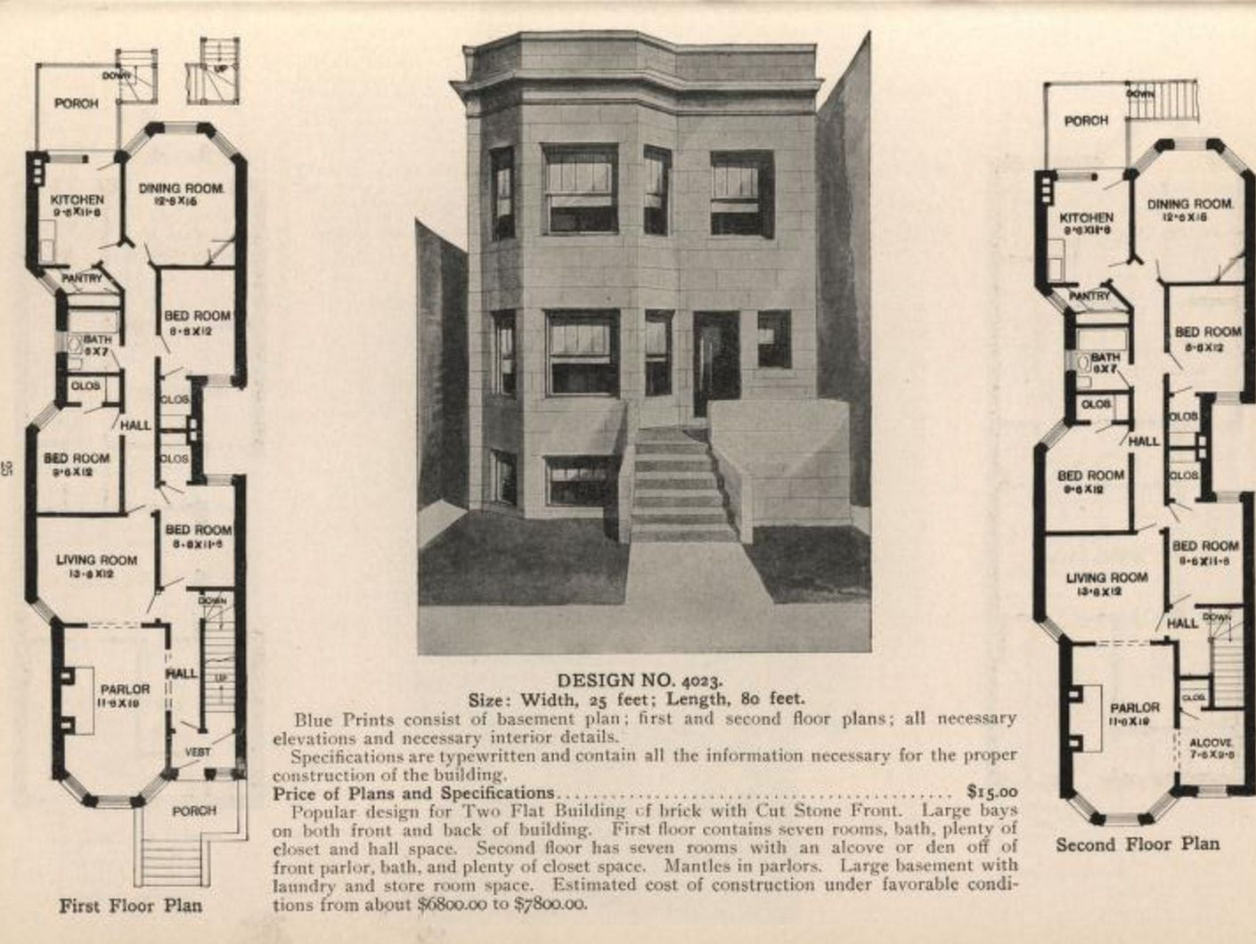 Floorplan for a typical Chicago greystone from Radford s