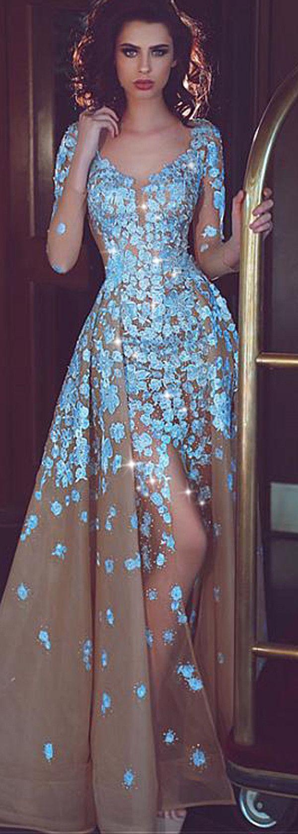 Fantastic Organza V-neck Neckline Long Sleeves A-line Prom Dress ...