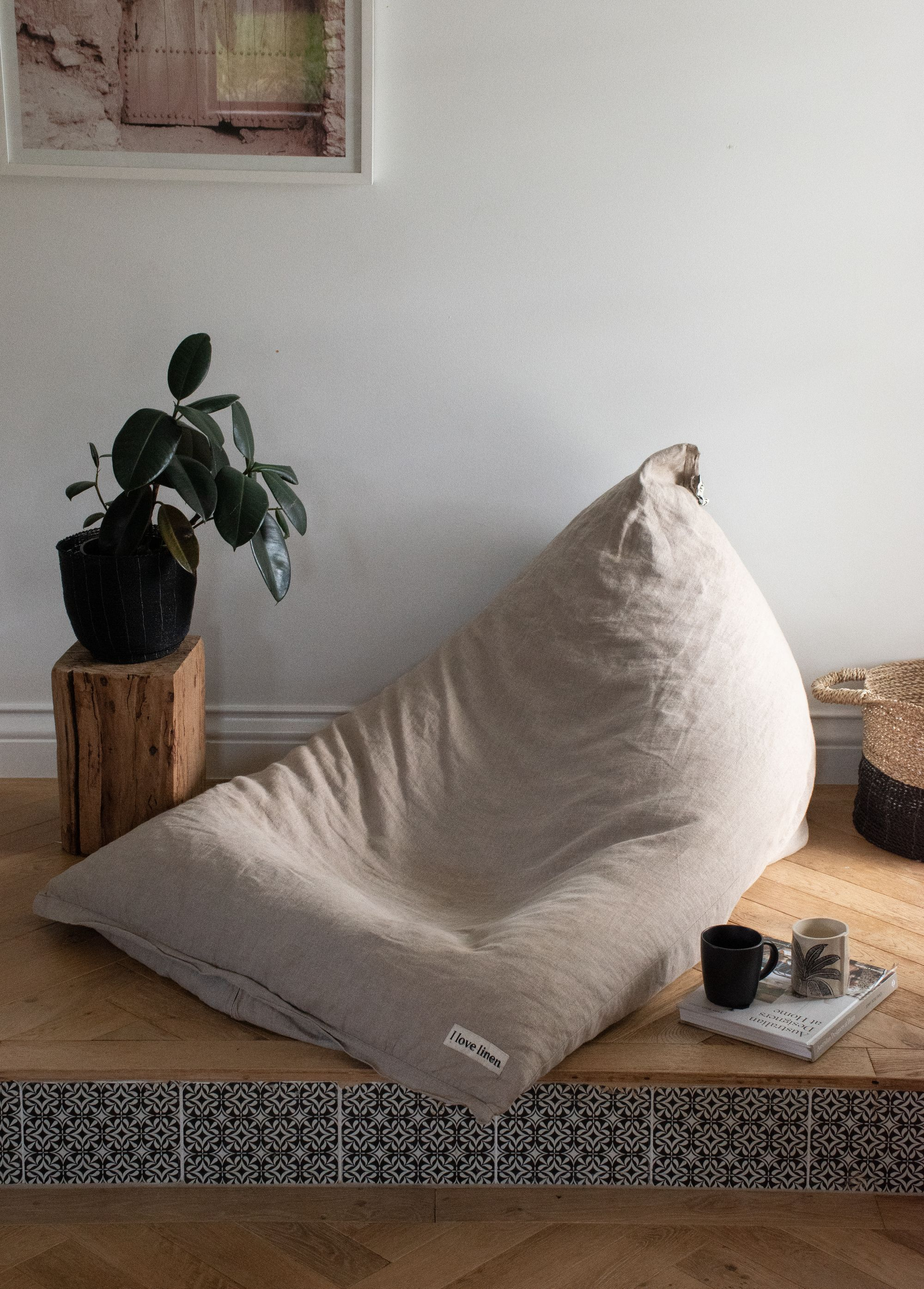 Natural French Linen Bean Bag in 2020 Bean bag room