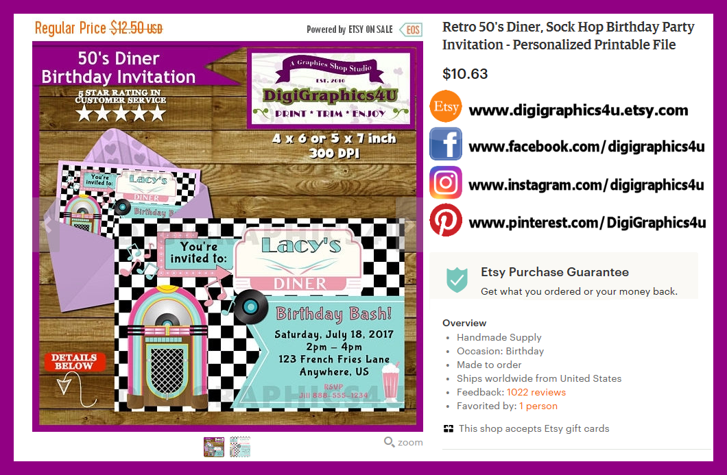Retro 50\'s Diner, Sock Hop Birthday Party Invitation - Personalized ...