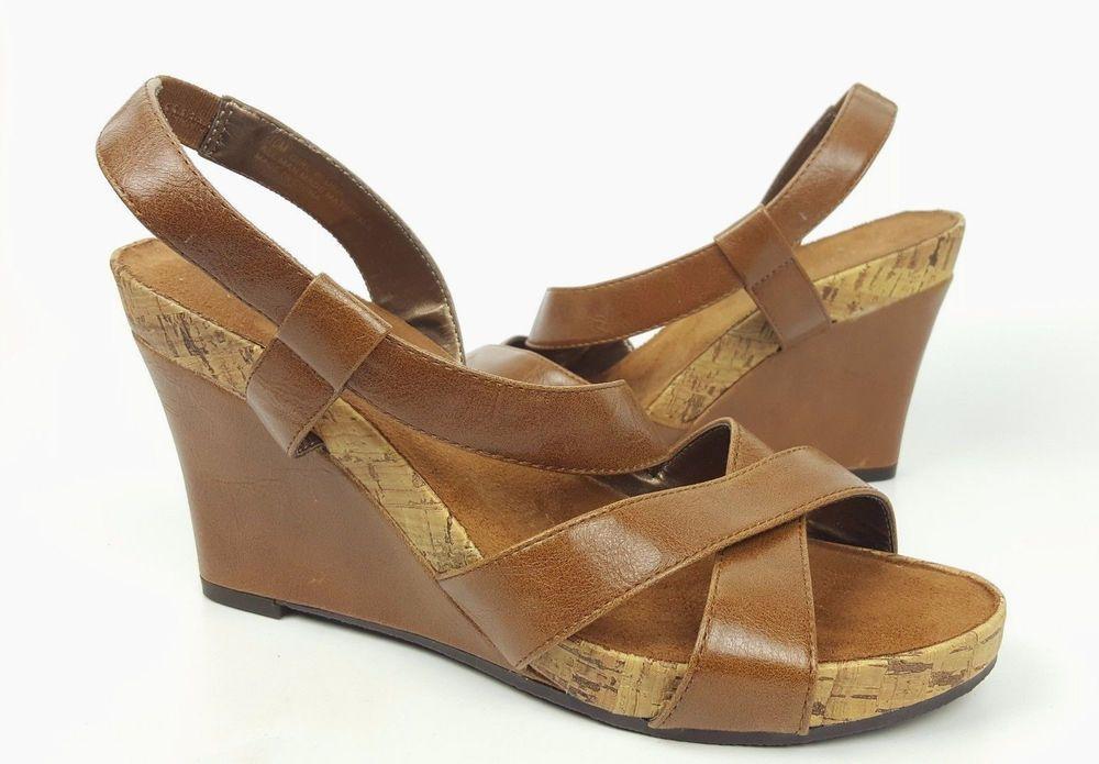 d2d625c8c8c3 Aerology shoes 10 M brown faux leather strappy wedge sandals  Aerosoles   PlatformsWedges