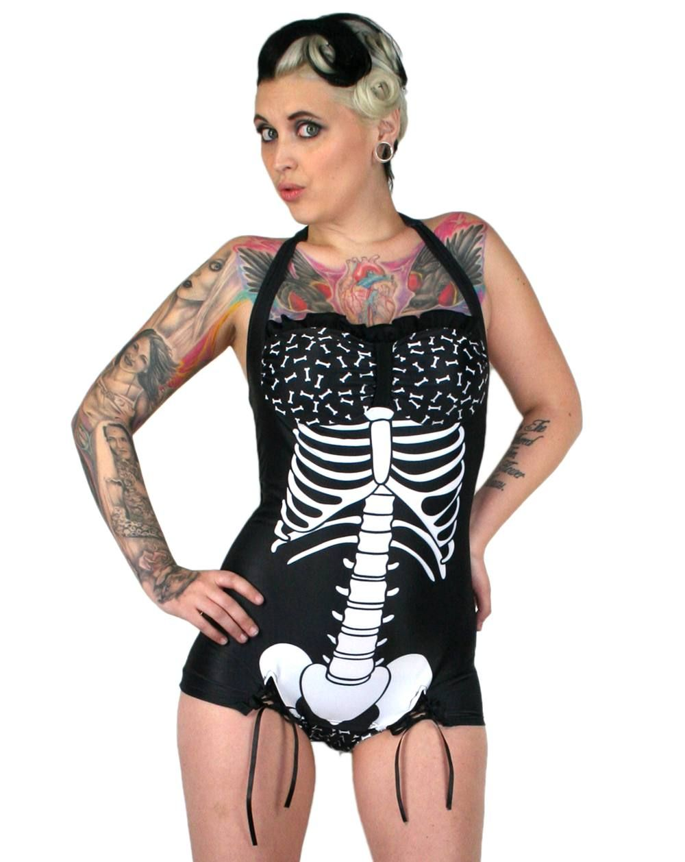Retro Style Bathing Suits Part - 25: Mandy Bones Skeleton X Ray Vintage Style Swimsuit Bathing Suit Gothic Punk  | EBay