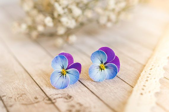 Pansy Stud Statement Earrings Violet Blue Purple Flower Nature Inspired Jewelry Polymer Clay Flowers Pansies Purple Pansy