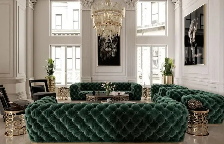 35 Beautiful Green Modern Style Living Room Decor With Green Velvet Tufted Sofa Luxu In 2020 Modern Style Living Room Decor Luxury Living Room Luxury Modern Furniture