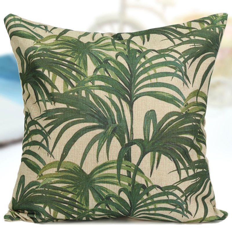 Summer Tropic Leafs Cotton Linen Throw Pillow Case Cushion Cover Sofa Home Decor