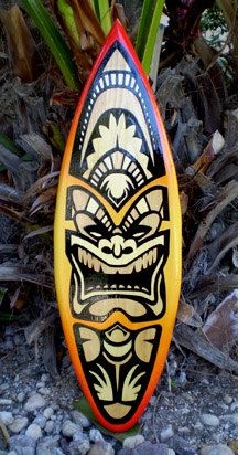 Surfboard Wall Art red hot angry fire 2 foot tiki solid wood surfboard wall art