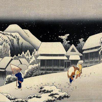 Passing Under Snowy Skies Japan by Ukiyo-E-Woodblock-Prints, Edo-Japan, shown on Artist Rising
