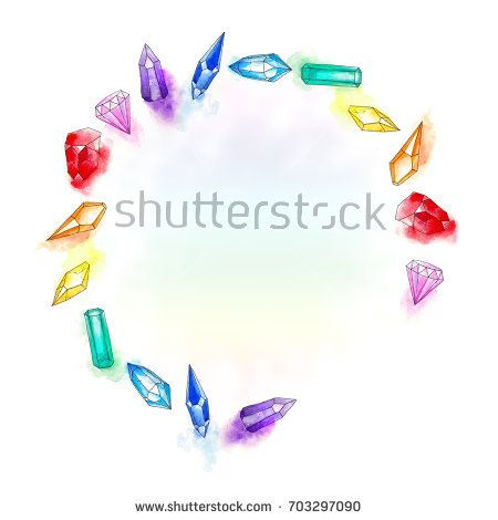 7 rainbow color crystal round wreath watercolor painting on white background