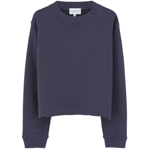 Varley Albata Sweatshirt - Stone Blue (€82) ❤ liked on Polyvore featuring tops, hoodies, sweatshirts, boxy sweatshirt, stone top, loose crop top, cut loose tops and boxy crop top