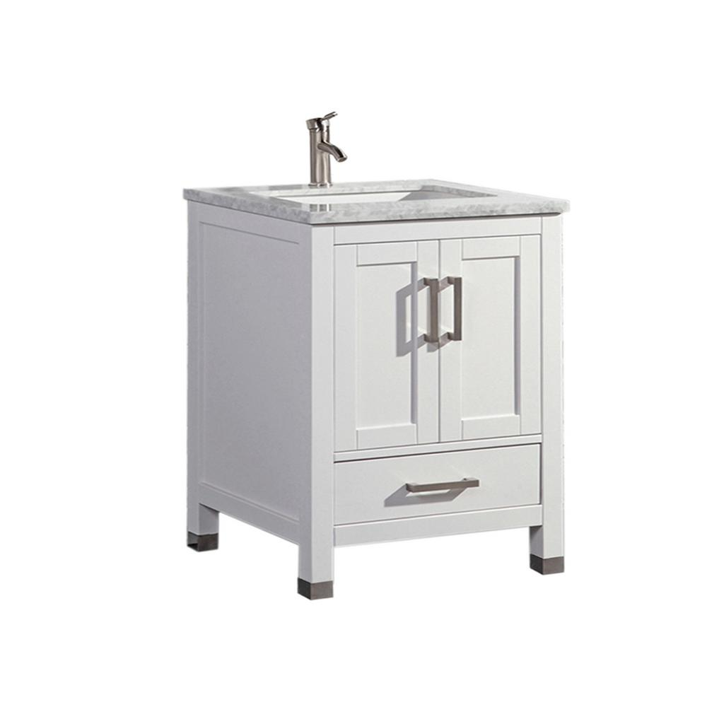 h vanity in white with marble vanity top in white with white basin