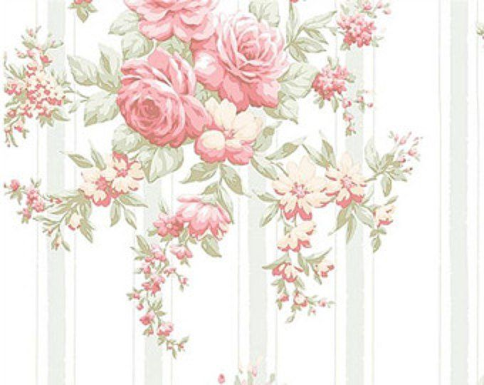 Light Blue Shabby Cottage Chic Wallpaper - Faded Cabbage ...