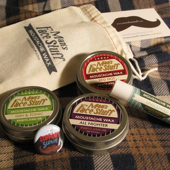 Moustache Wax Action Pack  All Four Scents and by MansFaceStuff, $28.00