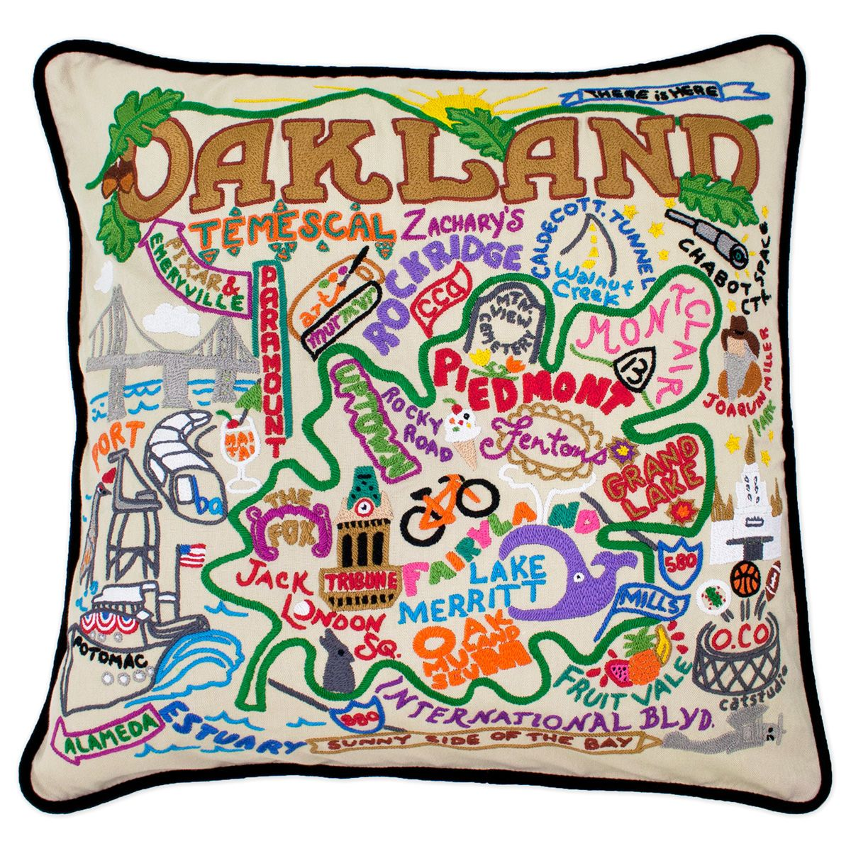 embroidered oakland pillows feature familiar symbols and names from this popular california city - Popular Throw Pillows
