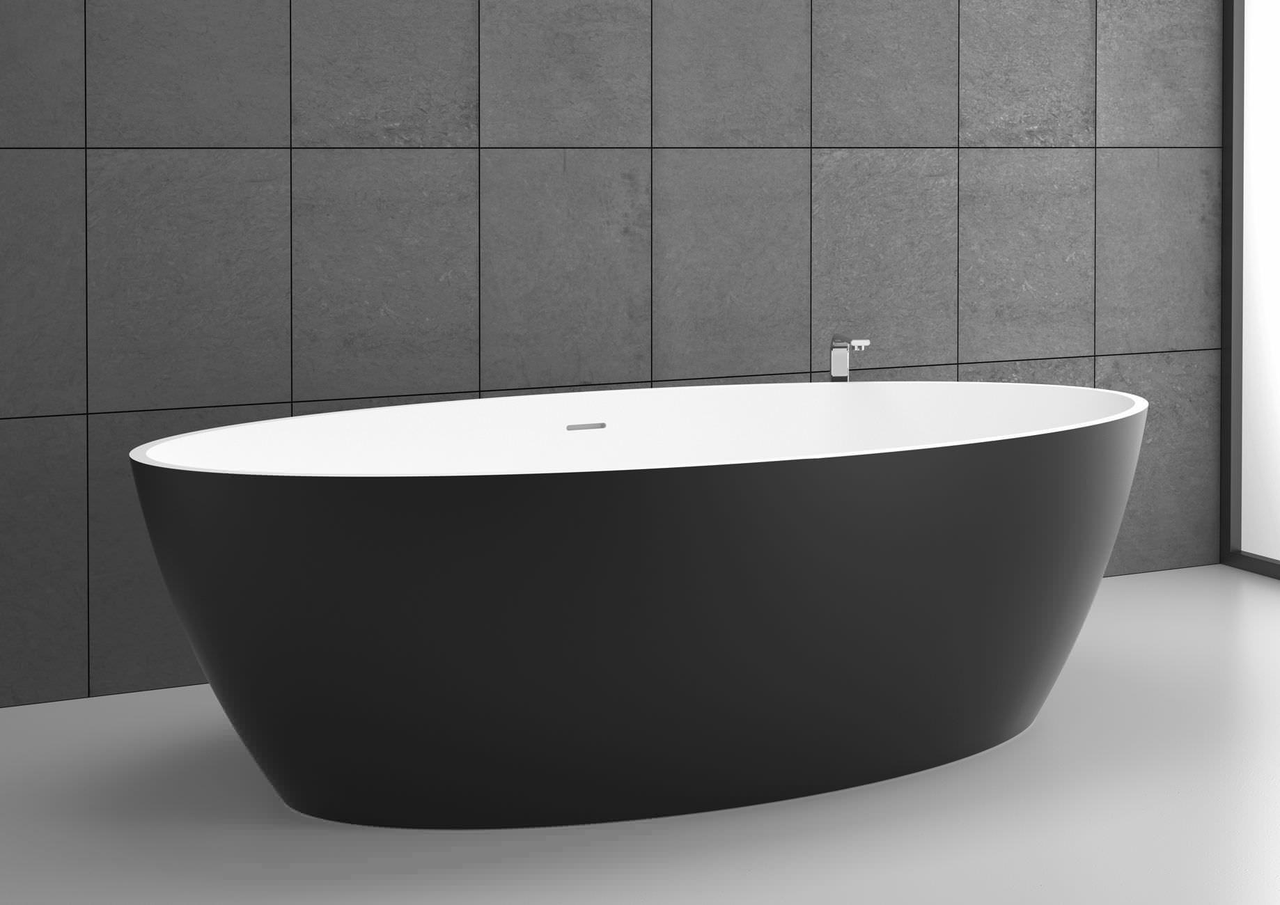 Vasca Da Appoggio : Vasca da bagno da appoggio ovale in solid surface space 180x85