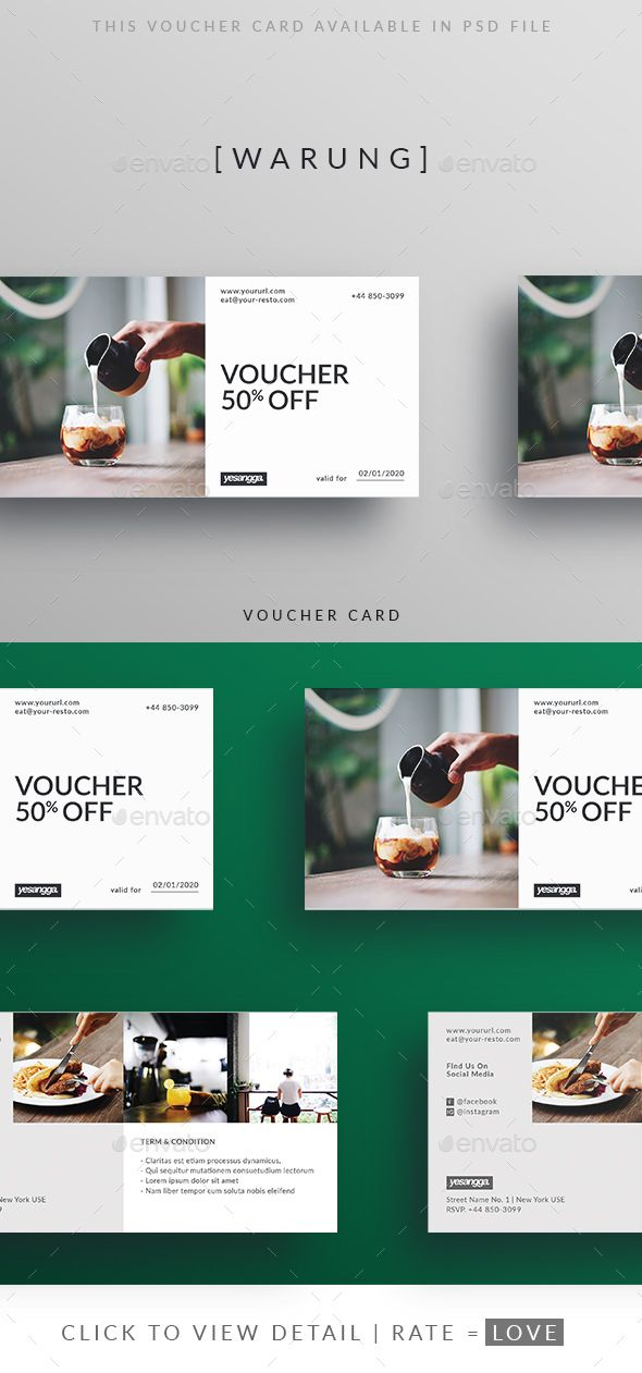 Restaurant Voucher #restaurant #resto #simple \u2022 Available here - Lunch Voucher Template