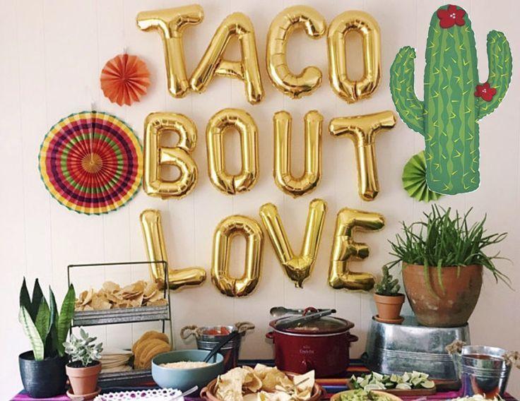 TACO BOUT LOVE Luftballons Brief Luftballons großen Kaktus Ballon Fiesta Party Braut Verlobungsfeier Hochzeit Taco Kampf Liebe Banner - # Ballon #Ballons # ...