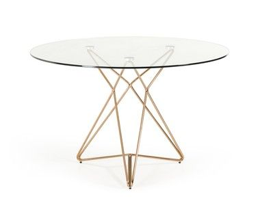 Modern Clear Round Glass Top Gold Stainless Steel Base