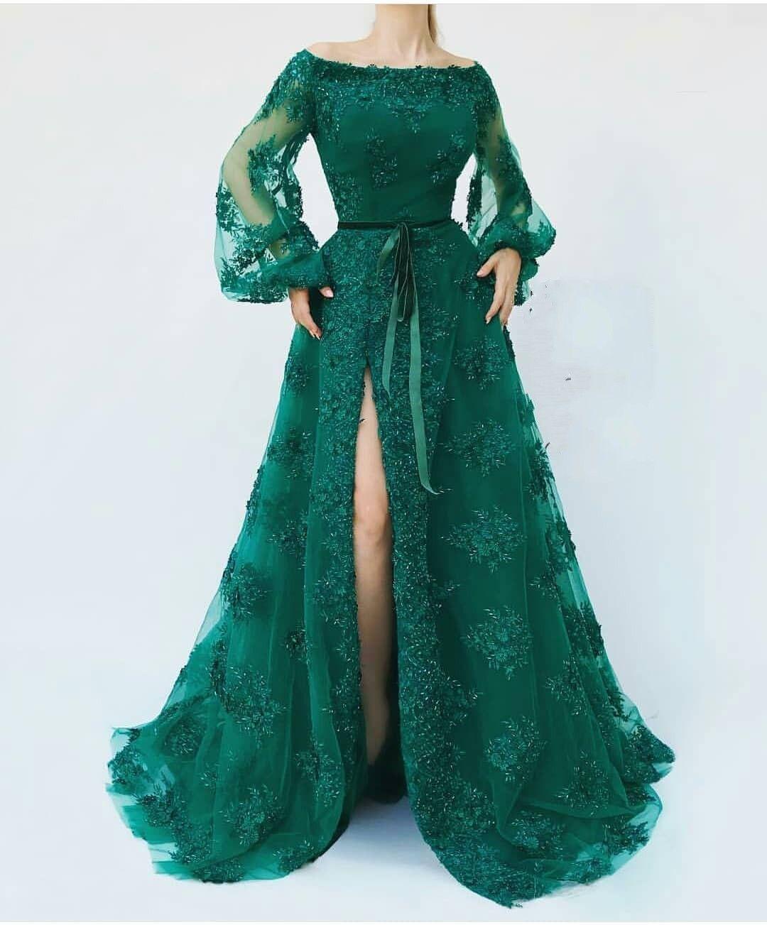 Günstige Abendkleider Lang Mit Ärmel  Abendkleid Grün in 10