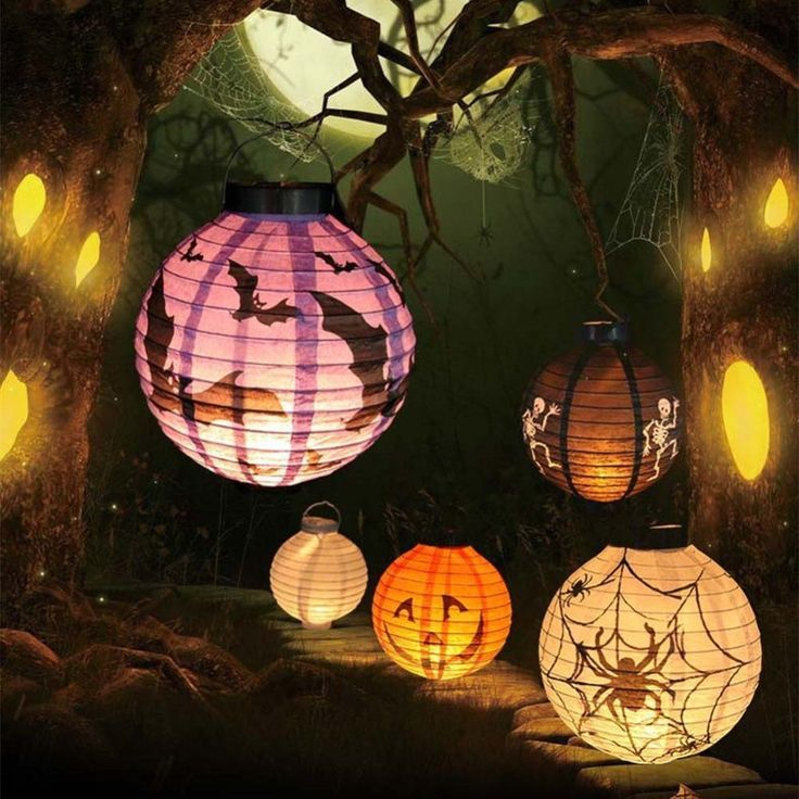 Lighted Paper Lanterns New Halloween Led Paper Pumpkin Hanging Lantern Diy  Holiday Party