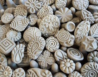 Photo of Biscuit patterned stamps-clay stamps for ceramics, polymer, PMC, fondant and more … Stamps for DIY and all your craftsin complete