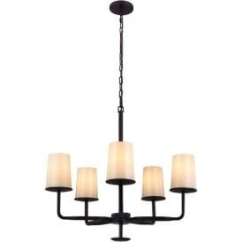 HUNTLEY rustic bronze 5 light chandelier with feathered frit glass shades